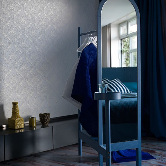 Blue Bedroom With Sculptural Clothes Horse How To Make A Statement With Bedroom Furniture
