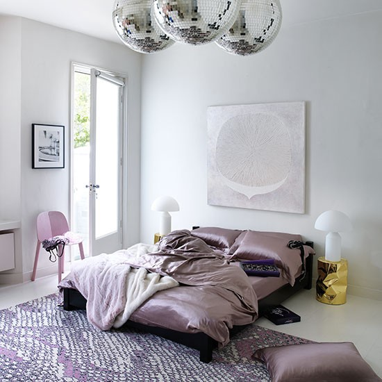 Feminine bedroom with disco balls for Modern feminine bedroom designs