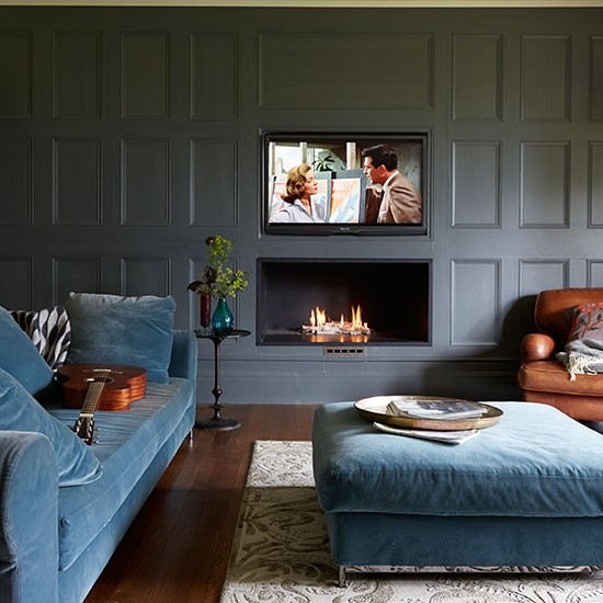 grey panelled living room living room decorating