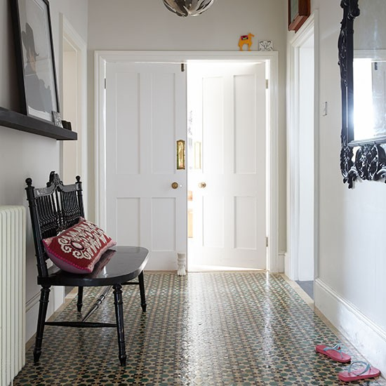 White Hallway With Moroccan Style Tiles Decorating