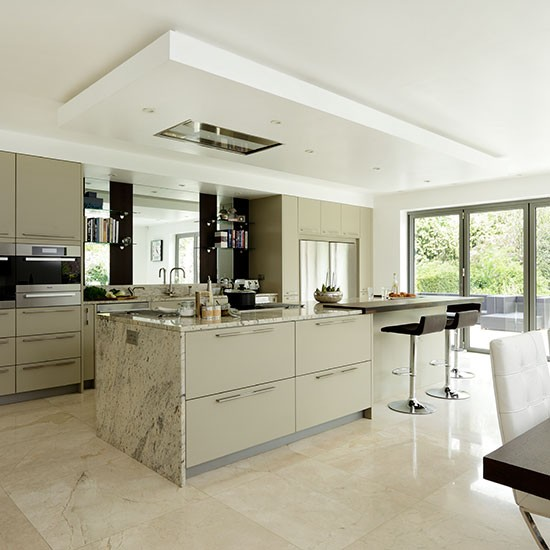 Sleek neutral kitchen with granite worktops Kitchen decorating ...