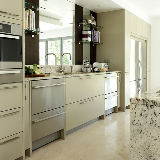 Neutral Kitchen With Mirrored Splashback Kitchen