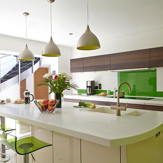 Modern White Kitchen With Green Accents