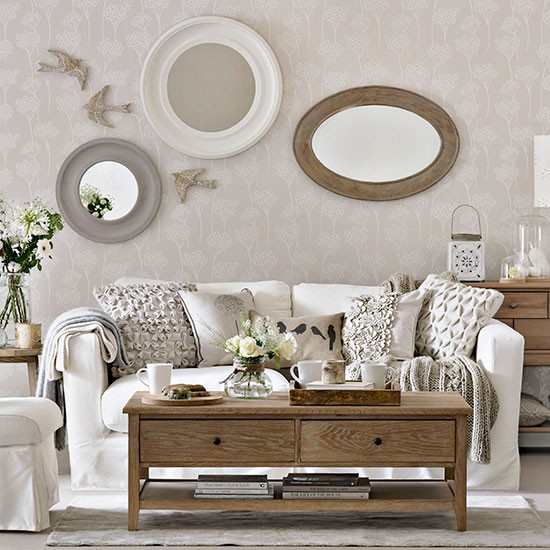 Ivory and natural wood living room living room for Natural living room design ideas