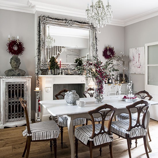 20 Best Traditional Small Home Office Design Ideas For: White Festive Dining Room