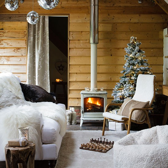 Winter Chalet Style Living Room Country Christmas Living Room Ideas