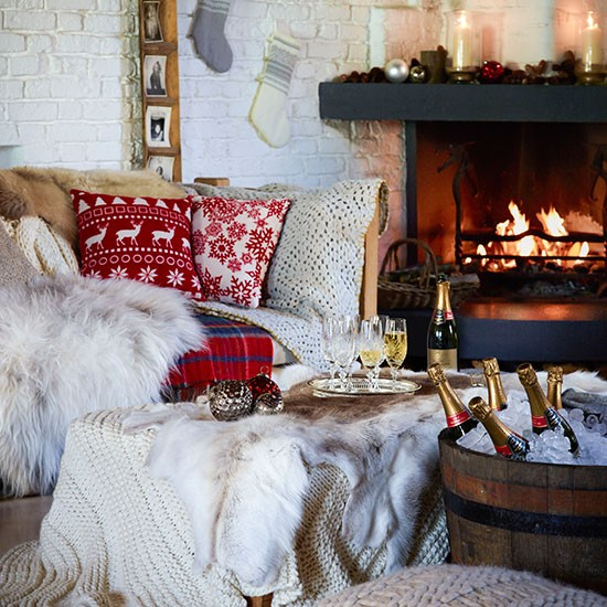 Cottage Living Room With Christmas Cushions And Cosy Throws Country Christm
