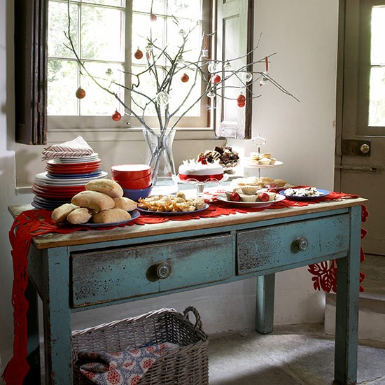 Christmas Lunch Table Decoration Ideas : Country style buffet lunch table christmas