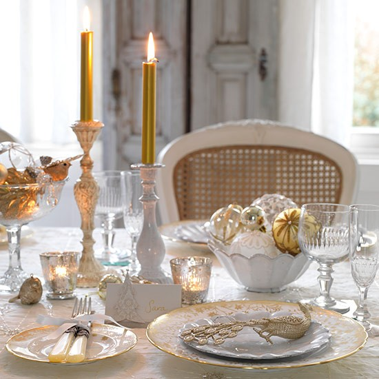 Vintage style table setting with cut glass candlelit for - New year dinner table setting ...