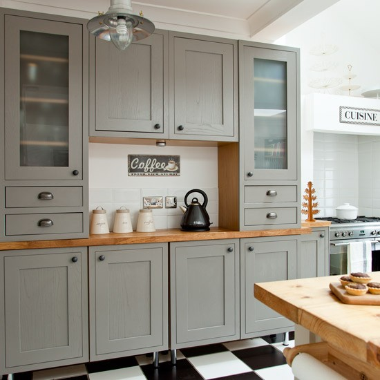 Classic Kitchen Dresser Makeover Grey Country Kitchen