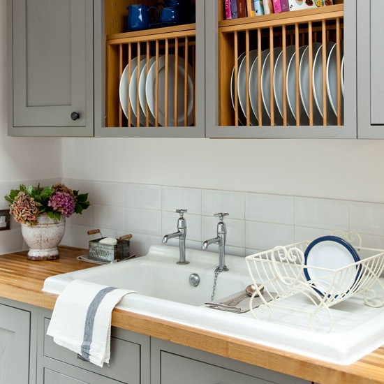 Reclaimed kitchen sink makeover grey country kitchen for Grey country kitchen
