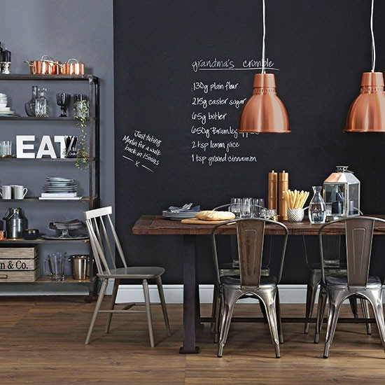 Blackboard wall dining room ideal home housetohome