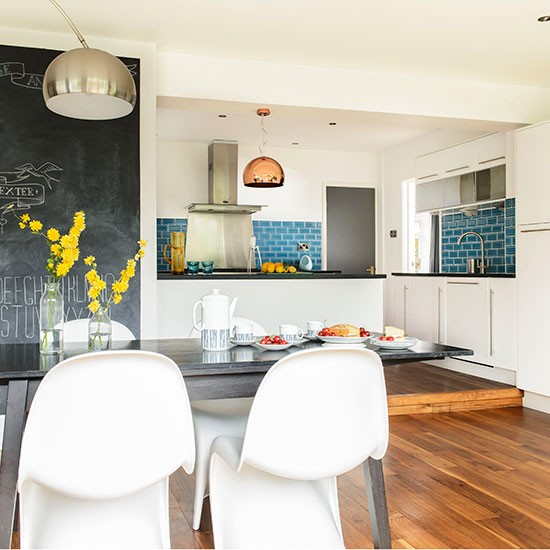Kitchen Diner Flooring Ideas: White Kitchen-diner With Teal Tiles