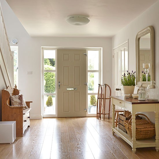 White hallway with painted console table Hallway  : Cream and Natural Wood Hallway Ideal Home Housetohome from www.housetohome.co.uk size 550 x 550 jpeg 67kB