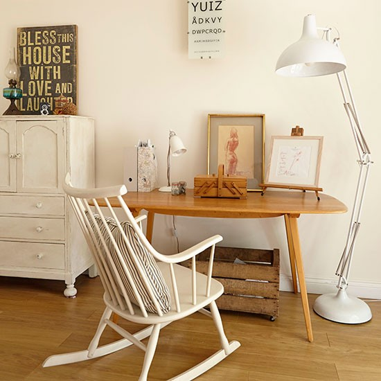 White home office with oversized lamp home office for Ideal office design