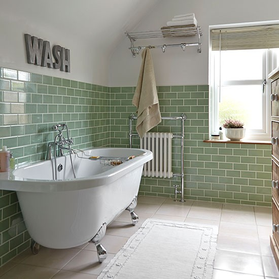 Green tiled bathroom with rolltop bath bathroom for Ideal home bathroom ideas