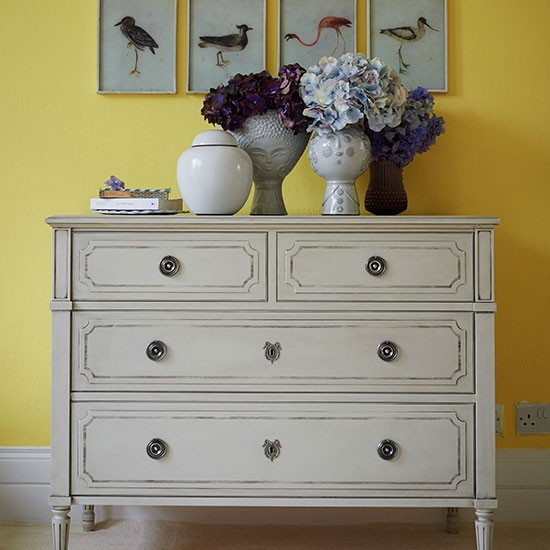 Yellow Hallway With Painted Chest Of Drawers