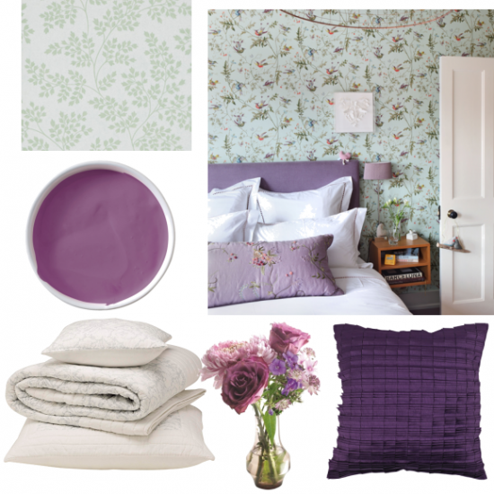 green and purple bedroom moodboards