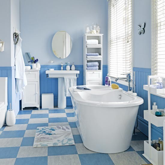 Blue and white hardworking bathroom family bathroom for Bathroom ideas uk