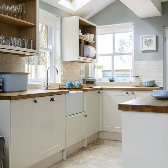 pale blue and cream kitchen