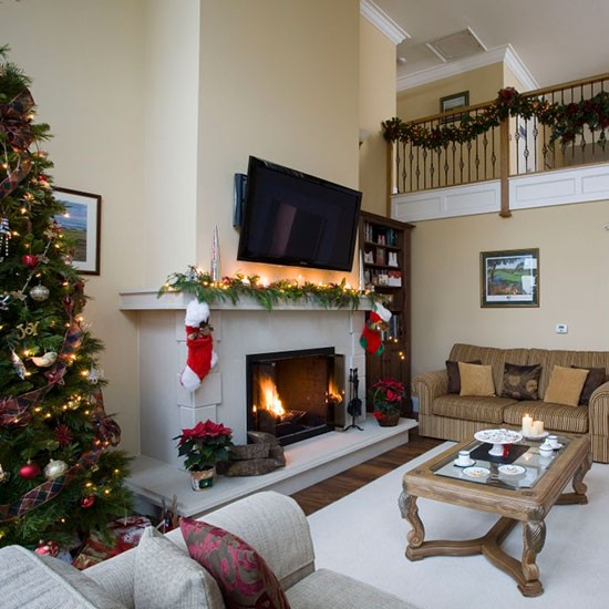Neutral Winter Living Room Traditional Christmas Living Room Ideas