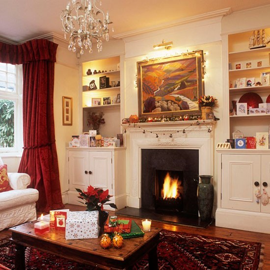 Cosy Living Room Fireside Traditional Christmas Living Room Ideas