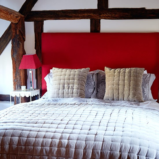 Cosy bedroom with bright red headboard | Country bedroom design ideas | Bedroom | PHOTO GALLERY | Country Homes and Interiors | Housetohome.co.uk