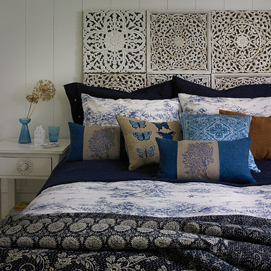 Midnight blue and white bedroom | Country bedroom design ideas | Bedroom | PHOTO GALLERY | Country Homes and Interiors | Housetohome.co.uk