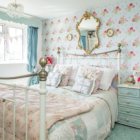 Country bedroom with blue floral wallpaper bedroom for Floral bedroom decor