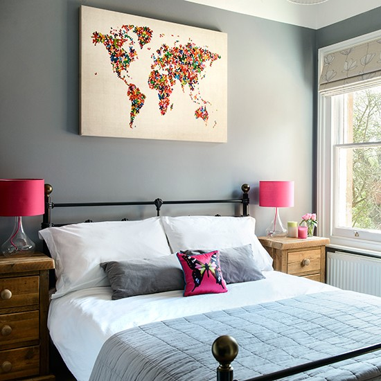 Bedroom With Pink Accent Colours