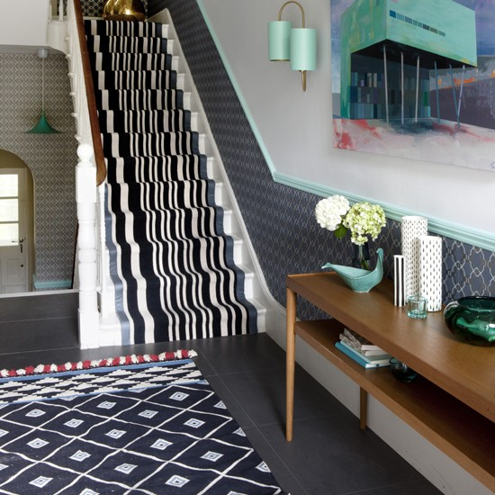 Pattern perfect modern hallway for Hall stairs carpet ideas