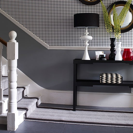 Grey Hallway Wtih Extended Runner Flooring Ideas Housetohomecouk
