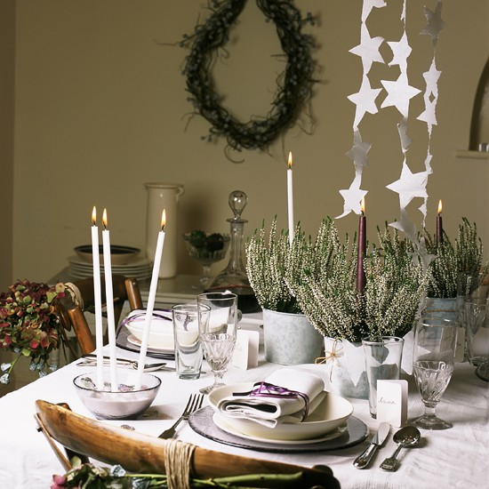 White themed Christmas Table Traditional