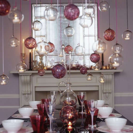 Dining room with hanging glass baubles