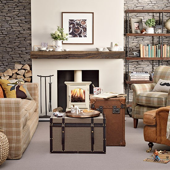 Plaid And Leather Living Room Living Room Decorating Housetohome