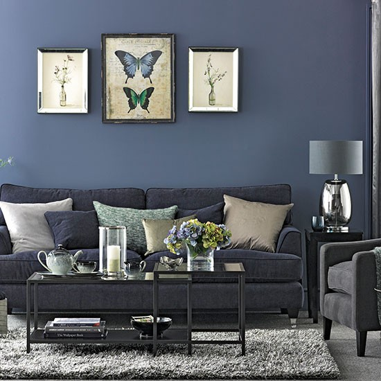 Blue and grey walls bedroom designs with white blue wall and gray sofa pillow blanket bed - Grey and blue living room ...