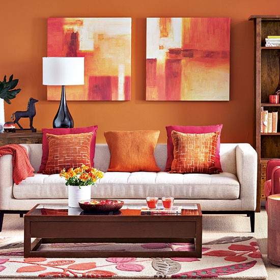 Modern Orange Living Room Decorating