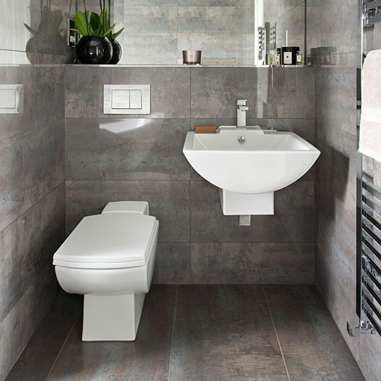 Dark grey tiled bathroom bathroom decorating for Bathroom ideas uk