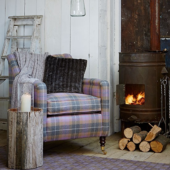rustic living room with checked armchair decorating
