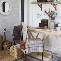 Country-style wood panelled home office