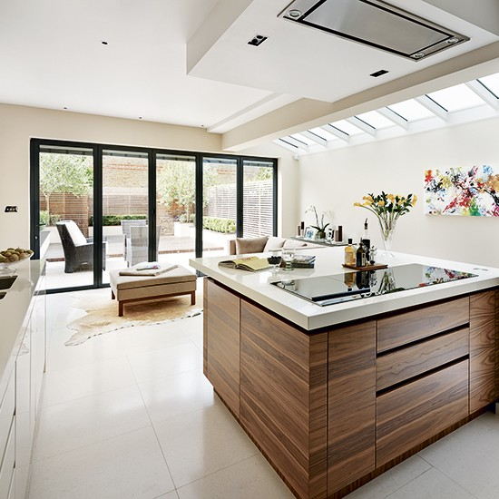 Walnut veneer kitchen extension kitchen extension design for Walnut kitchen designs
