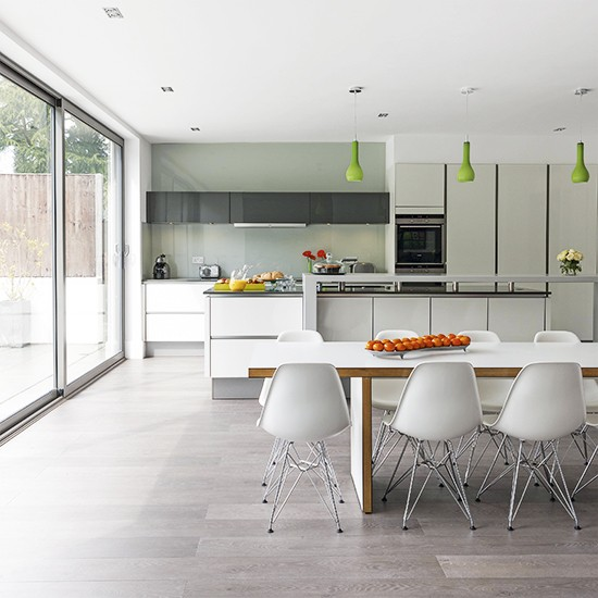 White social kitchen diner extension kitchen extension for Kitchen flooring ideas uk