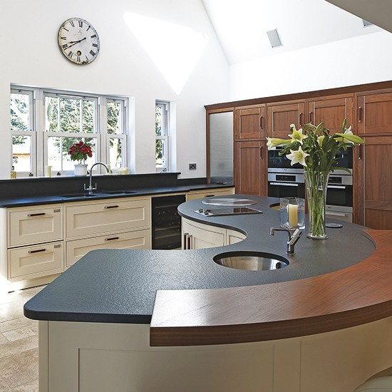 Kitchen Island Designs With Hob: Curved Granite And Walnut Island