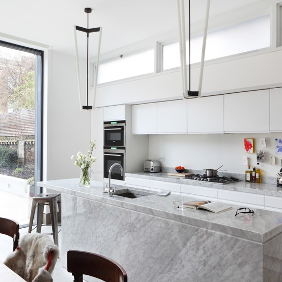 Modern Kitchen Design All In One Cooking Island Idea: All White Kitchen With Marble Island Unit