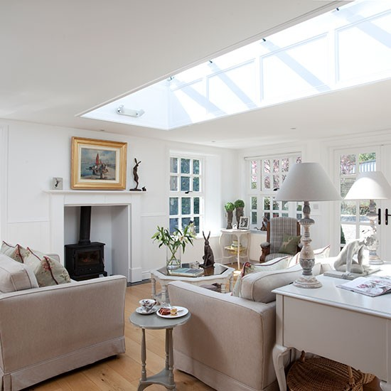 White Living Room With Skylight Open plan Design Ideas