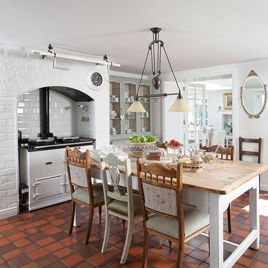 White kitchen with terracotta flooring decorating for Kitchen flooring ideas uk