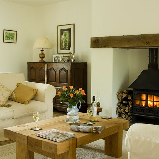 Traditional living room with woodburner decorating New build living room designs