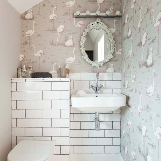 quirky cloakroom with signature wallpaper small bathroom