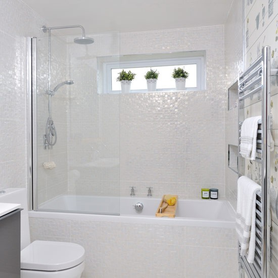 Cream bathroom with glimmering mosaic tiles small for Bathroom decor ideas uk