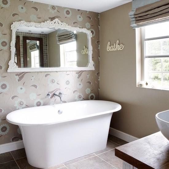 neutral wallpapered bathroom traditional bathroom design